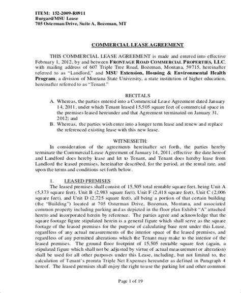 Commercial Building Lease Agreement Template by 9 Commercial Lease Agreement Sles Sle Templates