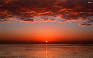 Red Sunset Ocean & Red Clouds wallpapers