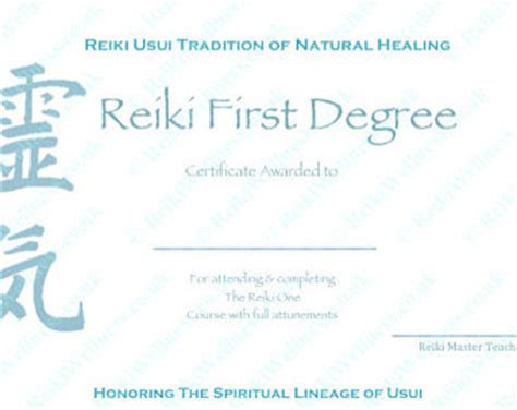 Reiki Level 1 Certificate Template by Certificate Etsy