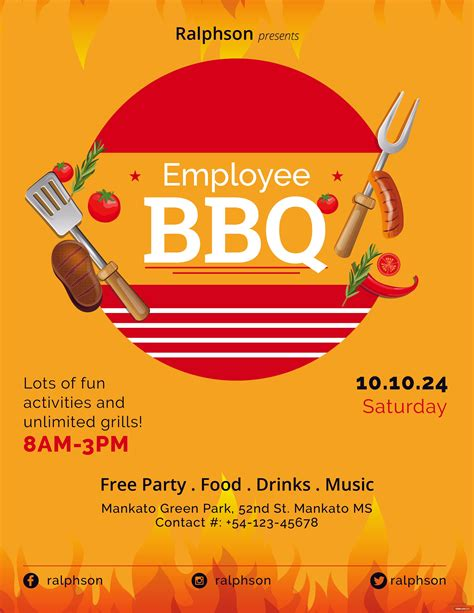 employee bbq party flyer template  adobe photoshop