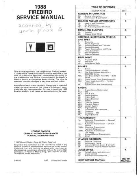 motor repair manual 1987 pontiac gemini instrument cluster 1989 pontiac firebird service repair manual