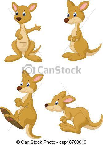 vector clip art  cute cartoon kangaroo collection se