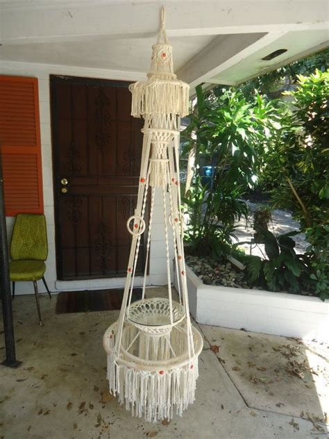 vintage macrame plant hanger glass shelf ivory