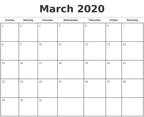 march monthly calendar template