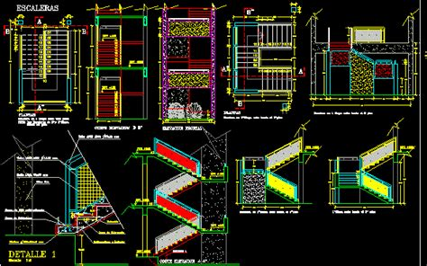 detail staircase dwg section  autocad designs cad