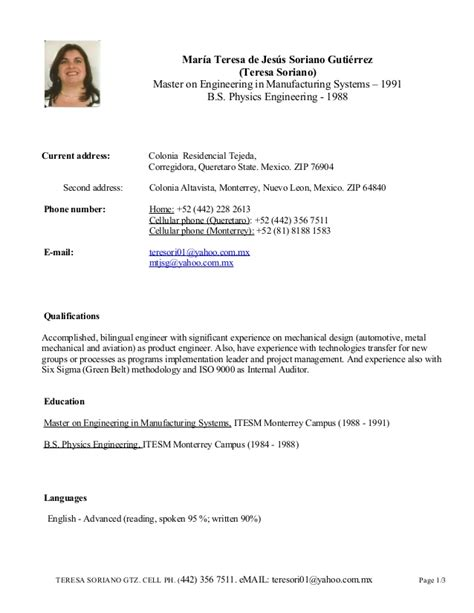 Curriculum Vitae Or Resume In Usa by Teresa Soriano Cv Dec 2014 For Usa