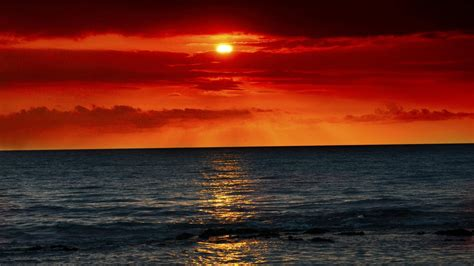sea waves  red sunset wallpapers