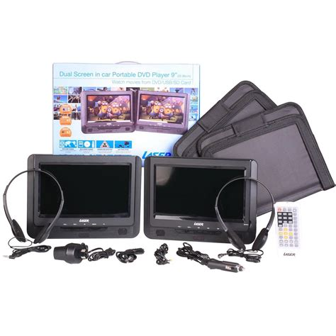 dvd player auto laser 9 quot in car dual dvd player big w