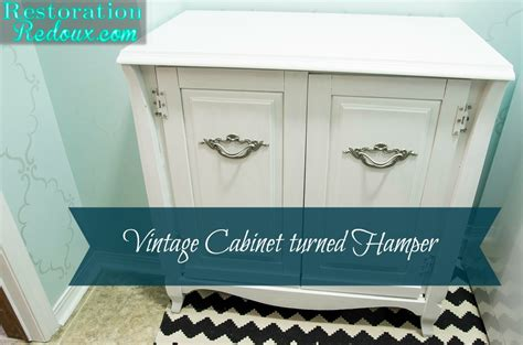 vintage cabinet turned laundry hamper daily dose  style