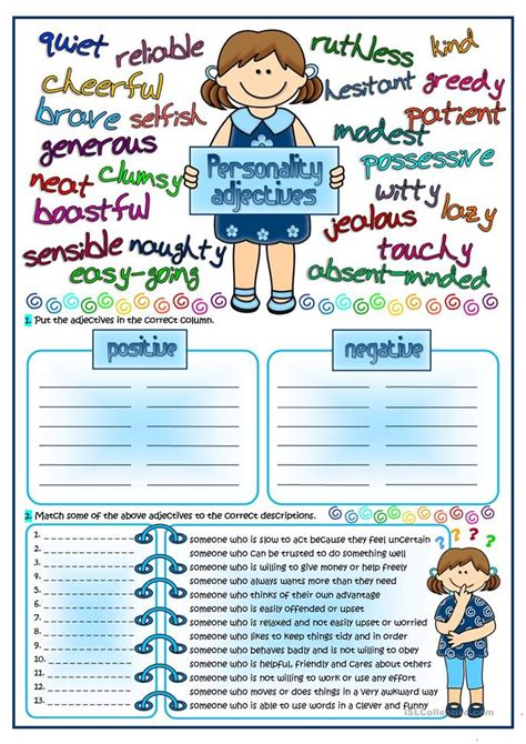 personality adjectives worksheet  esl printable
