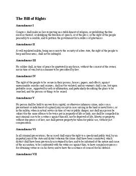 bill of rights worksheet for u s history summary of