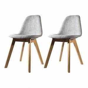 Lot Chaises Scandinaves : lot de 2 chaises scandinave en tissu grise fjord achat vente chaise gris les soldes sur ~ Teatrodelosmanantiales.com Idées de Décoration