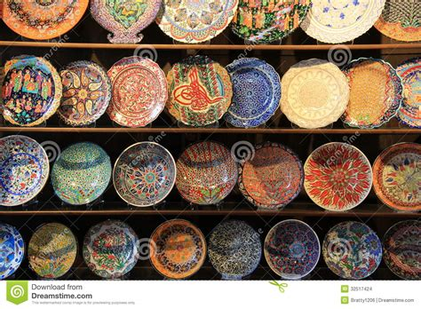 wood shelving  handcrafted decorative plates stock photo image