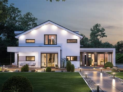 Modernes Fertighaus Mit Büro Anbau  Haus Conceptm 166