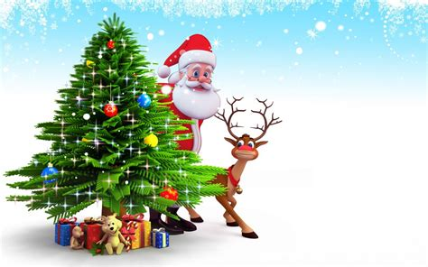 Santa Claus Animated Wallpaper - tree new year santa claus reindeer snow