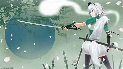 Touhou Anime Youmu Swords Cherry Konpaku Blossom