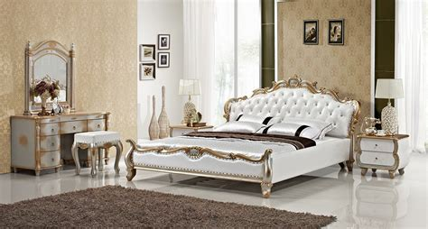 modern wooden bedroom furniture luxury gold diamond tufted leather sleeping bed 16463 | luxury gold diamond tufted leather sleeping bed contemporary French empire bedroom furniture made in China wooden