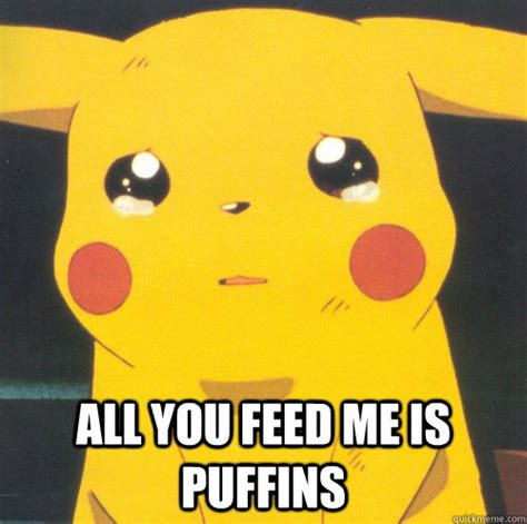 all you feed me is puffins pikachu pokeawesome quickmeme