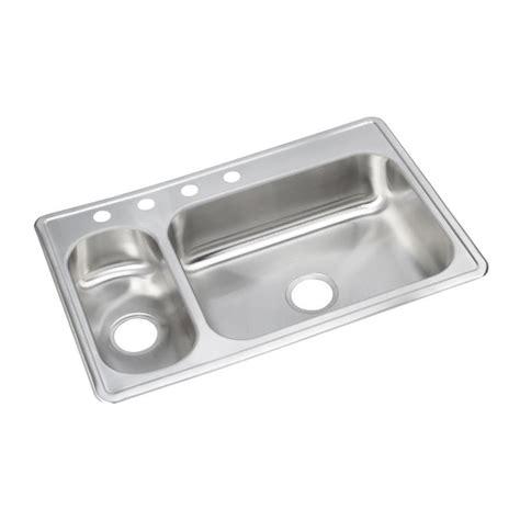 shop elkay stainless double basin drop  kitchen sink  lowescom