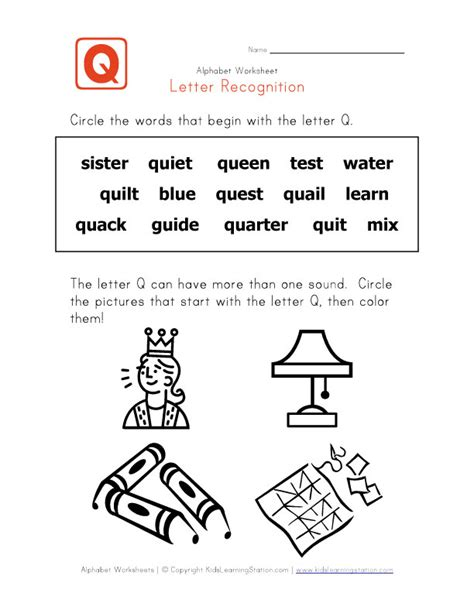 letter  words alphabet recognition page kids learning