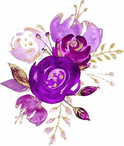 Watercolor Purple Flowers Flower Bouquet Clipart Plum