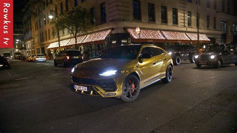 Arsenal football player Aubameyang driving his gold ...