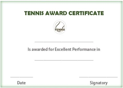 Tennis Gift Certificate Template Costumepartyrun