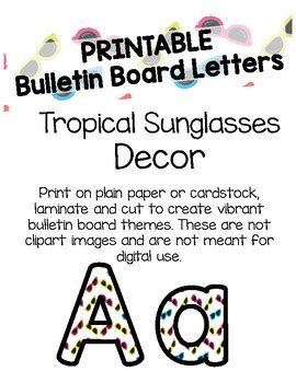 bulletin board letters tropical sunglasses bulletin board letters printable by 16197