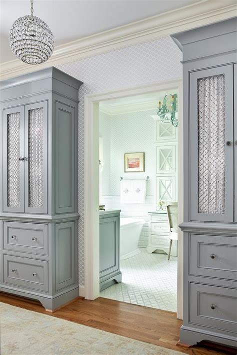 tall gray cabinets  chicken wire doors transitional