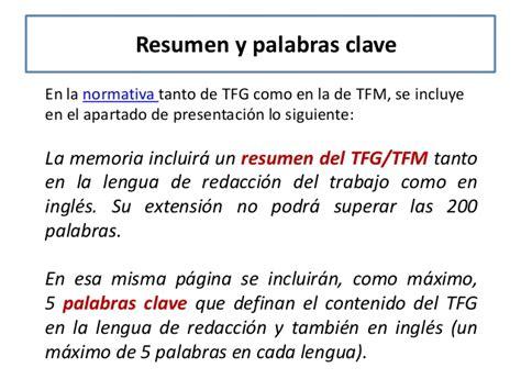 Un Resumen En Ingles by C 243 Mo Redactar La Bibliograf 237 A El Resumen Y Las Palabras Clave Tfg T