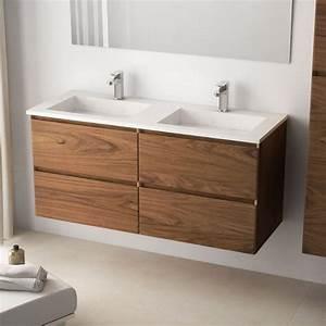 Meuble De Salle De Bain Double Vasque : meuble salle de bain 121 cm bois noyer double vasque pierre cordoue ~ Teatrodelosmanantiales.com Idées de Décoration