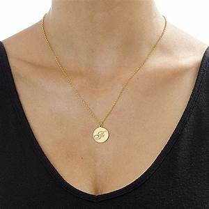 script initial pendant necklace in 18k gold plating With gold letter necklace pendants