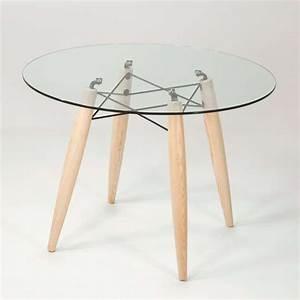 Table Verre Bois : table ronde design en verre transparent et structure bois souvenir 4 pieds tables chaises ~ Teatrodelosmanantiales.com Idées de Décoration