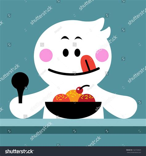 Free for commercial use no attribution required high quality images. Cute Cartoon Eating Colorful Fancy Ice Stock Vector ...