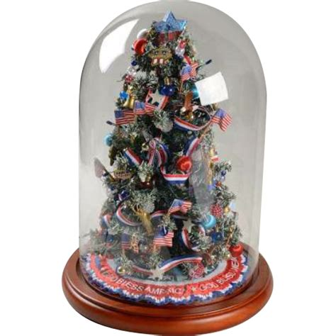 glass light up christmas tree vintage danbury mint god bless america miniature light up