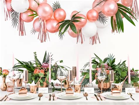 organisation fete tropical rose gold