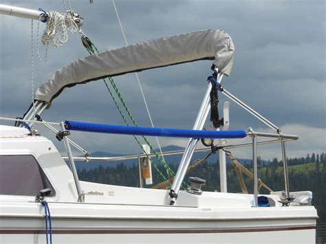 Boat Cover Tower Support by Upgrade To A Bimini Top On A Budget The Tingy Sailor