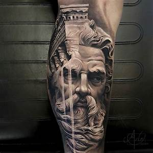 Zeus & Greek Ruins | Best tattoo design ideas