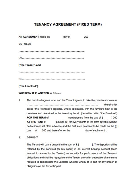 tenancy agreement templates   edit print