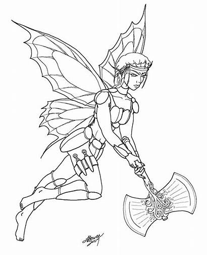Coloring Fairy Elf Warrior Skull Fantasy Exotic