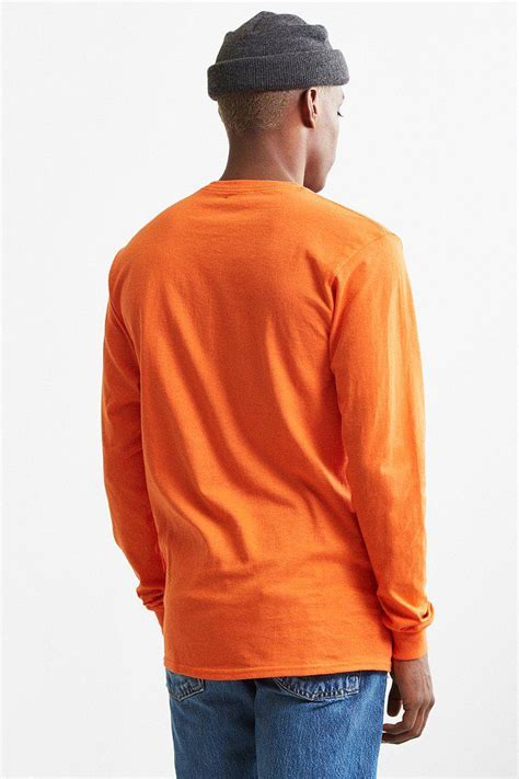 urban outfitters cotton nasa orange logo long sleeve tee  men lyst