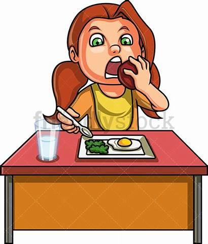 Eating Breakfast Healthy Cartoon Clipart Vector Character