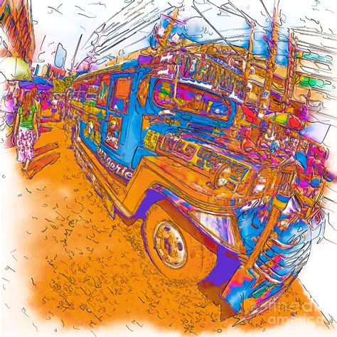jeepney philippines art philippine walking by a jeepney drawing by rolf bertram