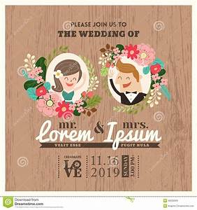 wedding invitation card with cute groom and bride cartoon With wedding invitation animation template