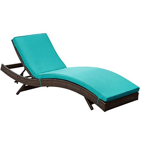 lexmod peer outdoor wicker chaise lounge chair with brown