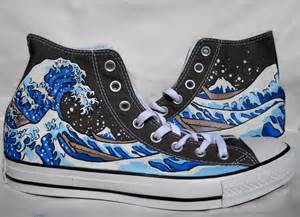 painted converse shoes the great wave kanagawa - Converse Wedding Shoes