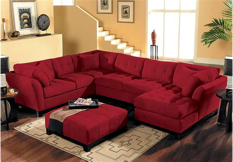 rooms to go sofas and sectionals cindy crawford home metropolis cardinal 4 pc sectional
