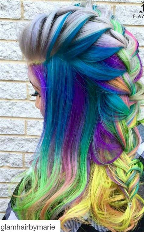 Blue Mixed Braided Rainbow Dyed Hair Color Hair Hair