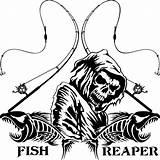 Fishing Reaper Vinyl Grim Reel Fish Decal Skull Pole Window Truck Sticker Decals Rod Skeleton Drawing Boat Silhouette Custom Bass sketch template