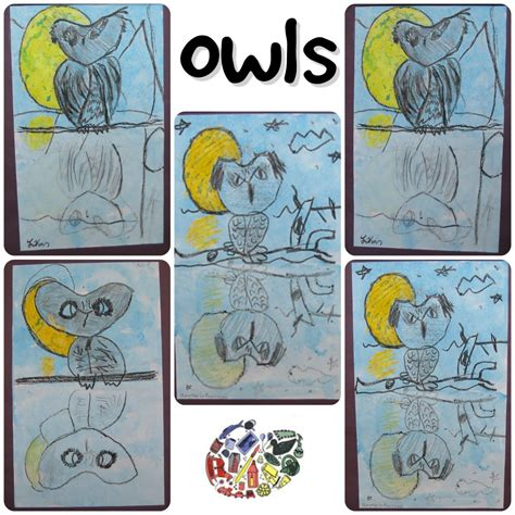 owl reflections crayon resist drawing lesson  kids art